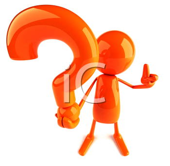 Royalty Free 3d Clipart Image of a Red Guy Holding a Large Question Mark