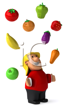 Royalty Free Clipart Image of a Woman Juggline Fruit and Vegetables