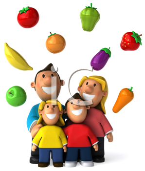 Royalty Free Clipart Image of a Family With Healthy Foods Above Them