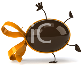 Royalty Free Clipart Image of a Chocolate Egg Doing a Handspring