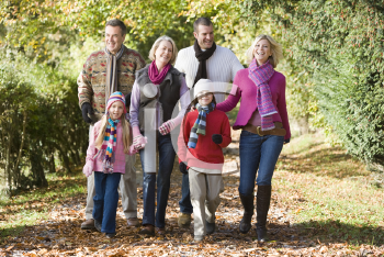 Royalty Free Photo of a Family Walking on a Trail