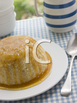 Royalty Free Photo of Steamed Syrup Sponge with a Jug of Custard