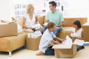 Royalty Free Photo of a Family Unpacking