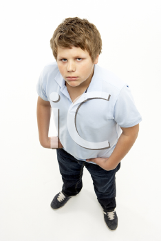 Royalty Free Photo of a Boy Looking Angry