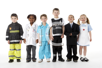 Royalty Free Photo of a Group of Youngsters Dressed Up as Various Professions