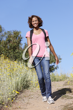 Young  woman on country hike