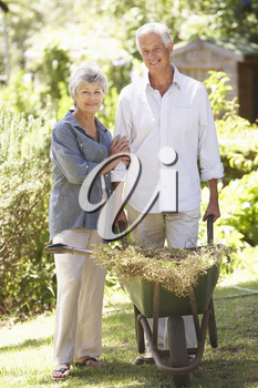 Senior Couple Working In Garden At Home