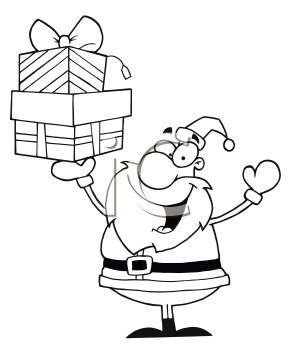 Royalty Free Clipart Image of Santa Holding Presents In The Air