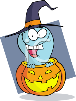 Royalty Free Clipart Image of a Ghost Coming Out of a Jack-o-Lantern