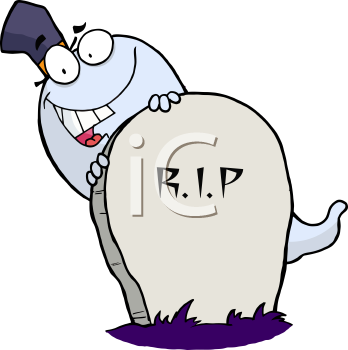 Royalty Free Clipart Image of a Ghost Behind a Tombstone