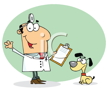 Royalty Free Clipart Image of a Vet and a Dog