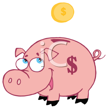 Royalty Free Clipart Image of a Coin Going Into a Bank