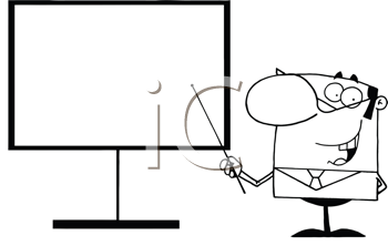 Royalty Free Clipart Image of a Teacher Pointing at a Board