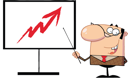 Royalty Free Clipart Image of a Man Pointing to an Arrow on a Board