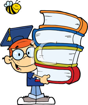Royalty Free Clipart Image of a Male Graduate With Books