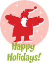 Royalty Free Clipart Image of Santa in a Pink Circle