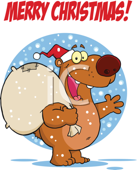 Royalty Free Clipart Image of a Merry Christmas Bear With a Santa Hat and Sack