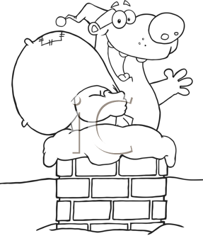 Royalty Free Clipart Image of a Bear in a Chimney