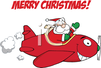 Royalty Free Clipart Image of a Merry Christmas Greeting With Santa in a Plane
