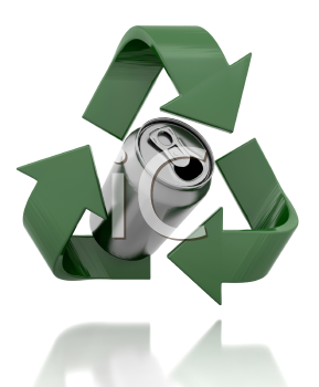 Royalty Free Clipart Image of a Recycle Symbol With a Can