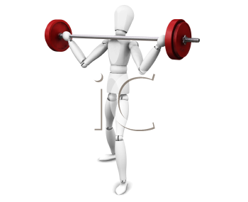 3D render of a man lifting weights