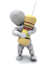 3D Render of a Man With A Resistor