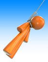 Royalty Free Clipart Image of a Hanging Orange Man