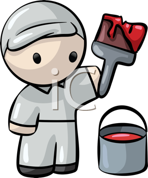 Royalty Free Clipart Image of a Man With a Paintbrush and Paint