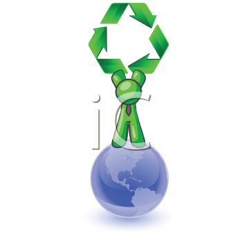 Royalty Free Clipart Image of a Green Man Standing on the Earth Holding a Recycling Symbol