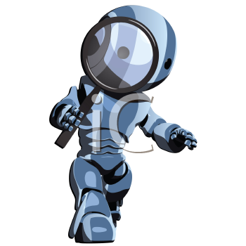 Royalty Free Clipart Image of a Detective Robot With a Magnifying Glass