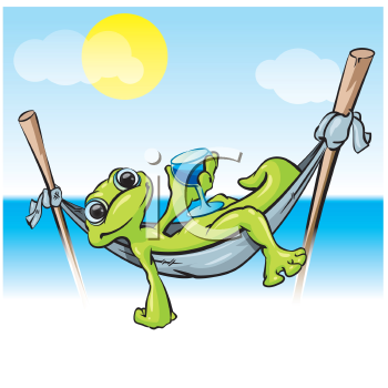 Royalty Free Clipart Image of a Gecko on a Hammock