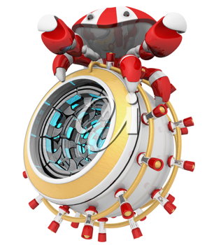 Royalty Free Clipart Image of a Robot Crab on an Incinerator Device