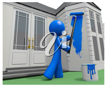 Royalty Free Clipart Image of a Blue Man Painting a House