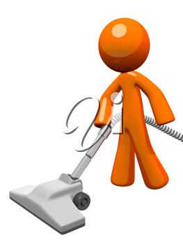 Orange man vacuuming and cleaning house.