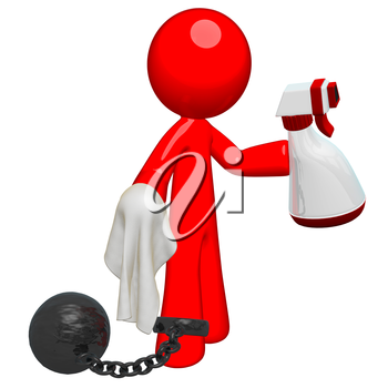 Red man holding a spray, cloth, and bound by a ball and chain. Suggests an oppressive or non-desireable job, or perhaps the chores of inmates or domestic responsibilities.