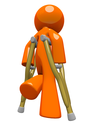 An orange man with crutches, walking away, appearing sad or in pain. Rehabilitation and wellness image.