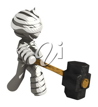 Mummy or Personal Injury Concept Slamming a Sledge Hammer