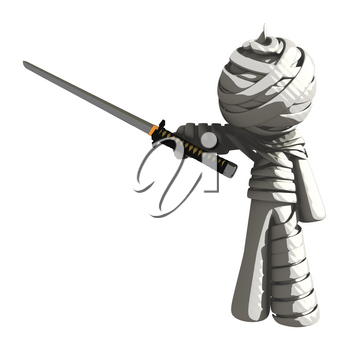 Mummy or Personal Injury Concept Triumphant with Ninja Sword