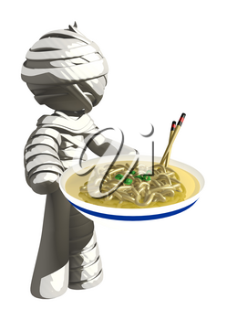 Mummy or Personal Injury Concept With Noodles