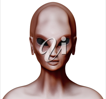 Hybrid alien woman facing forward isolated on white