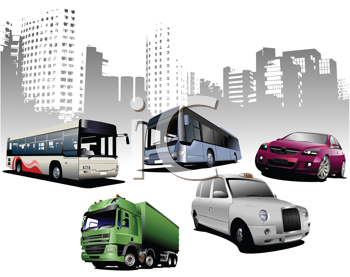 Royalty Free Clipart Image of a Group of Vehicles in Front of the City