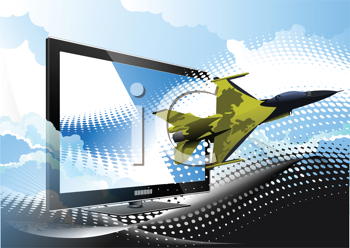 Blue dotted background with Flat computer monitor and air force combat. Display. Vector illustration