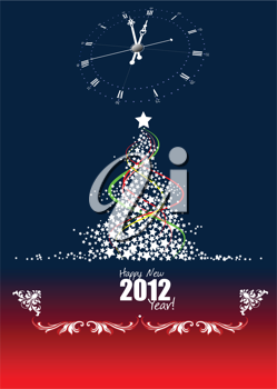 Christmas - New Year midnight background. Greeting card. Vector illustration
