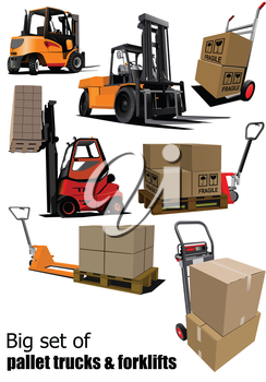 Big set of Forklifts and pallet trucks Vector illustration