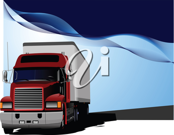 Blue abstract background with truck image. Vector illustration