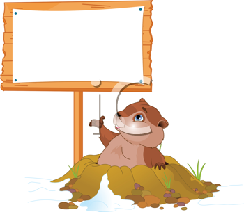 Royalty Free Clipart Image of a Groundhog Coming Out of His Hole and Pointing to a Billboard
