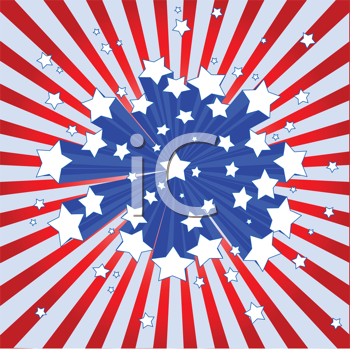 Royalty Free Clipart Image of an American Star-burst Background