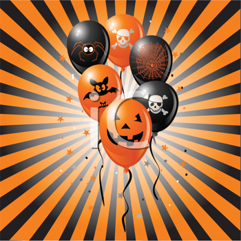 Royalty Free Clipart Image of a Halloween Balloon Background