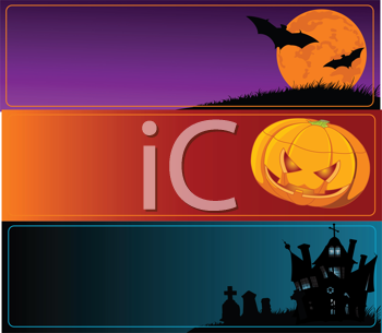 Royalty Free Clipart Image of Halloween Banners