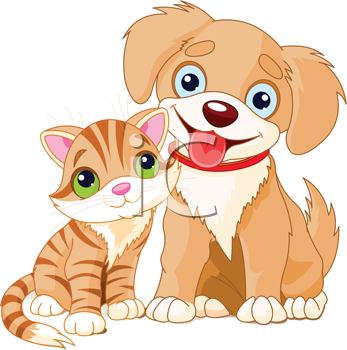 Royalty Free Clipart Image of a Cartoon Puppy and Kitten